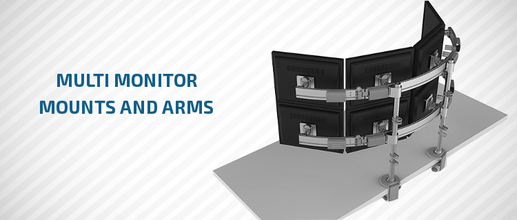 Multi monitor arms and mounts