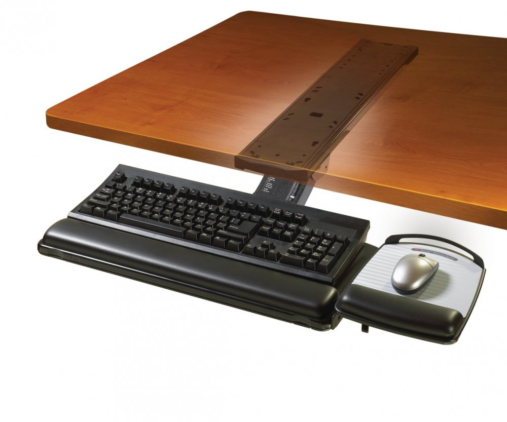 3m Akt180le Sit Stand Under Desk Easy Adjust Keyboard Tray