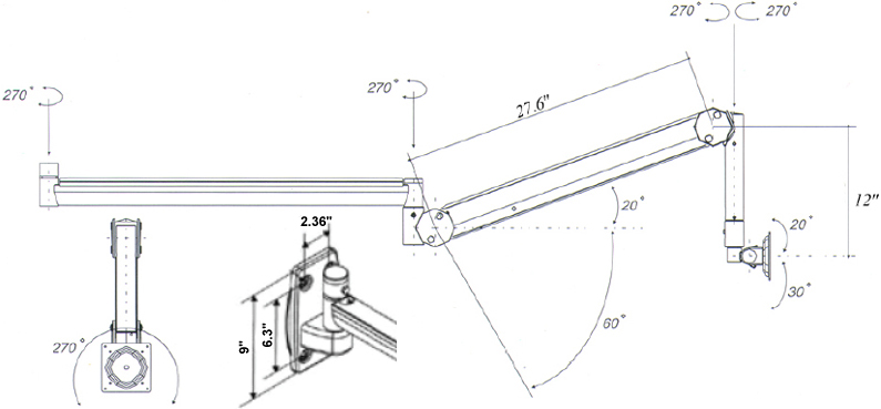 Technical Drawing for AFC LCD Wall Mount AFC-105