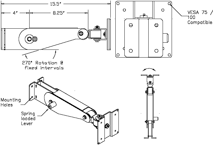 Technical Drawing for AFC Flat Panel LCD Monitor Wall Mount Arm AFC 11B