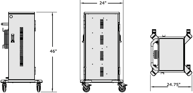 Technical Drawing for Anthro TAB40SS/PW4 Secure 40 Unit Tablet Charging Cart