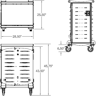 Technical drawing for Anthro LTSC20WH/SM Standard Laptop Charging Cart