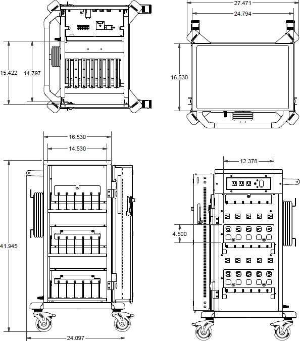 Technical drawing for Anthro YESMJUGMPW4 Junior YES Charging Cart for Mini-Laptops