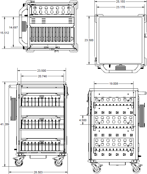 Technical drawing for Anthro YESMORGMPW4 YES Charging Cart for Mini-Laptops