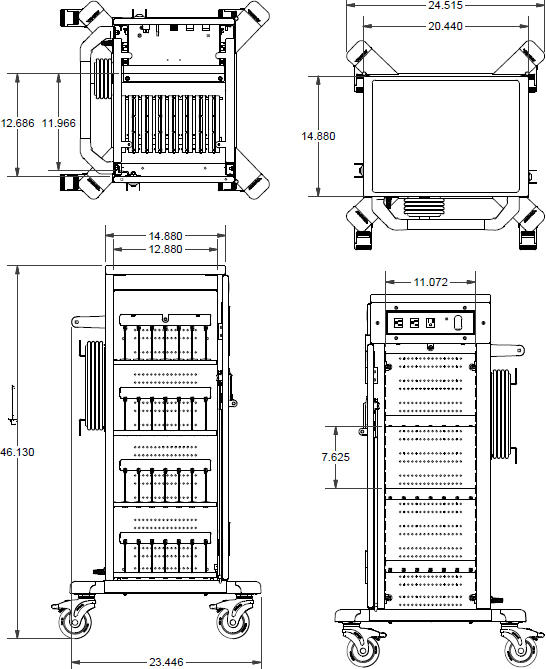 Technical drawing for Anthro YESTABGMPW4 YES Charging Cart for Tablets and iPads