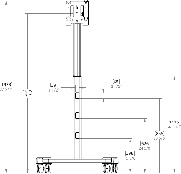 Technical Drawing for MFC series Universal Flat Panel Mobile Cart