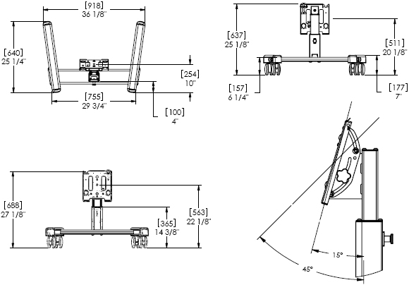 Technical Drawing for Chief MFQUB or MFQUS Medium Confidence Monitor Lightweight Mobile Cart