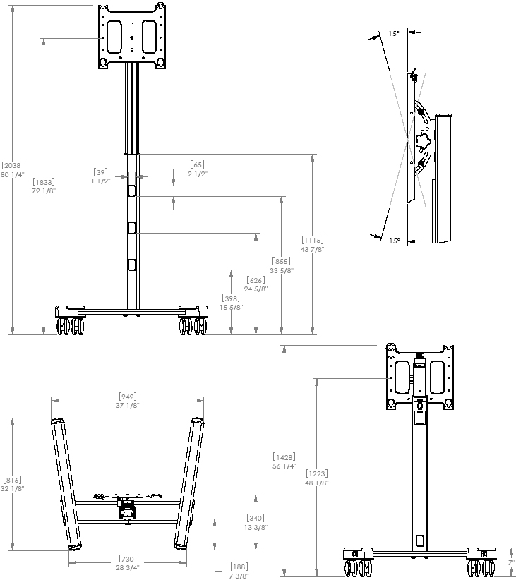 Technical Drawing of Chief PFCUS700 Mobile Cart PFCU with PAC700 Case