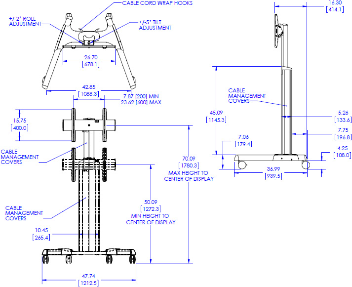 Technical drawing for Chief MPAUB or MPAUS Medium Height Adjustable Mobile AV Cart