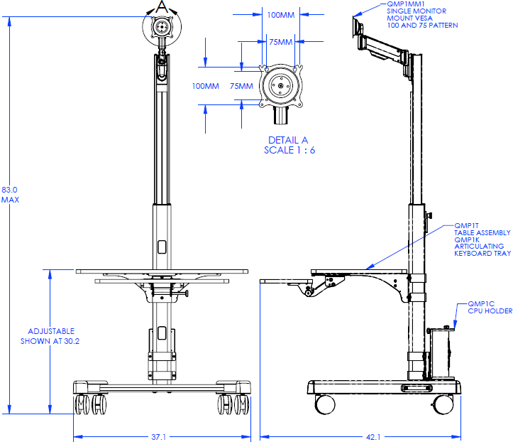 Technical Drawing for Chief QMP1PK1B Pre-Configured Mobile Base Workstation