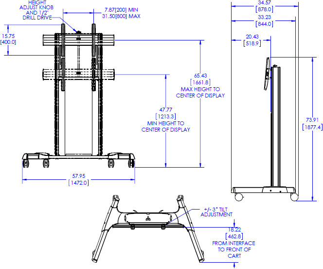 Technical drawing for Chief XPAUB or XPAUS X-Large Height Adjustable Mobile AV Cart
