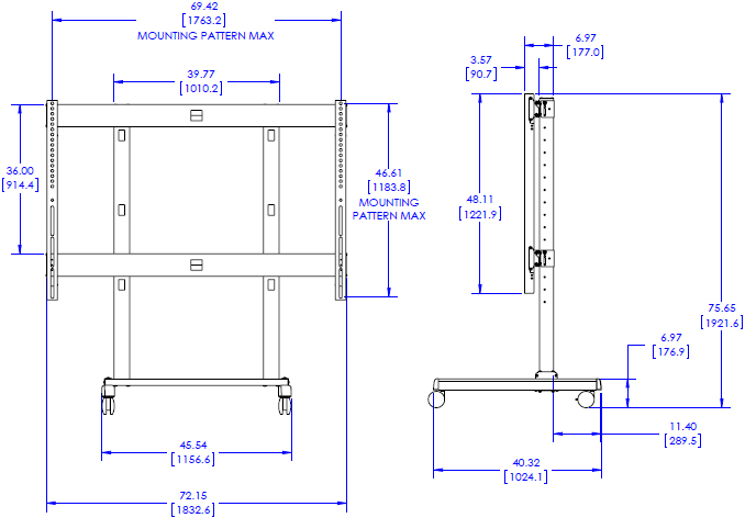 Technical Drawing for Chief XVM1X1U FUSION Extra Large Freestanding Video Wall Solution