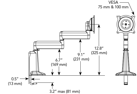 Technical Drawings for Chief KCD110B or KCD110S Dual Swing Desk Mount Arm