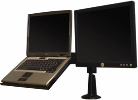 Chief KGL220B Desk Mount Height Adjustable Dual LCD Monitor or Laptop Arm