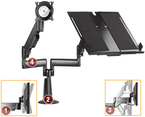 Chief KGL220B or KGL220S Desk Mount Arm Height Adjustable Dual LCD Monitor or Laptop