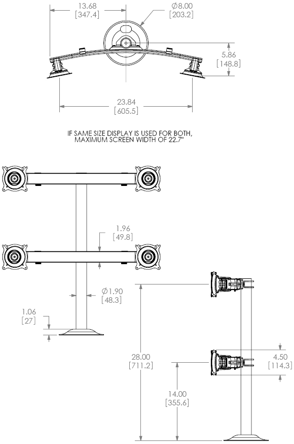 Technical Drawing for Chief KTG440B Flat Panel Quad Monitors Grommet Desk Mount