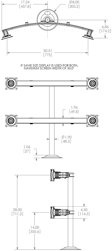 Technical drawing for Chief KTG445B or KTG445S Widescreen Quad Monitors Grommet Desk Mount