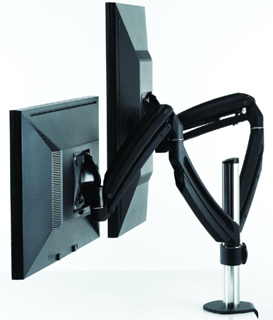Chief K1C200B or K1C200S KONTOUR Dynamic Column Desk Clamp Mount for Dual Monitors