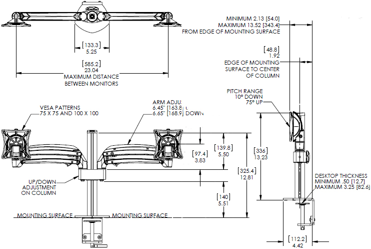 Technical Drawing of Chief K1C250 Series Kontour Dynamic Column Desk Clamp Mount