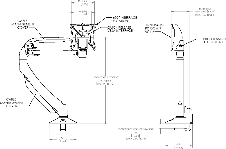Technical Drawing of Chief K1D100S or K1D100B KONTOUR Dynamic Desk Clamp Mount for Single Monitor