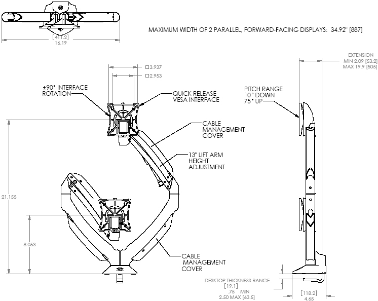 Technical Drawing of Chief K1D200S or K1D200B KONTOUR Dynamic Desk Clamp Mount for Dual Monitors