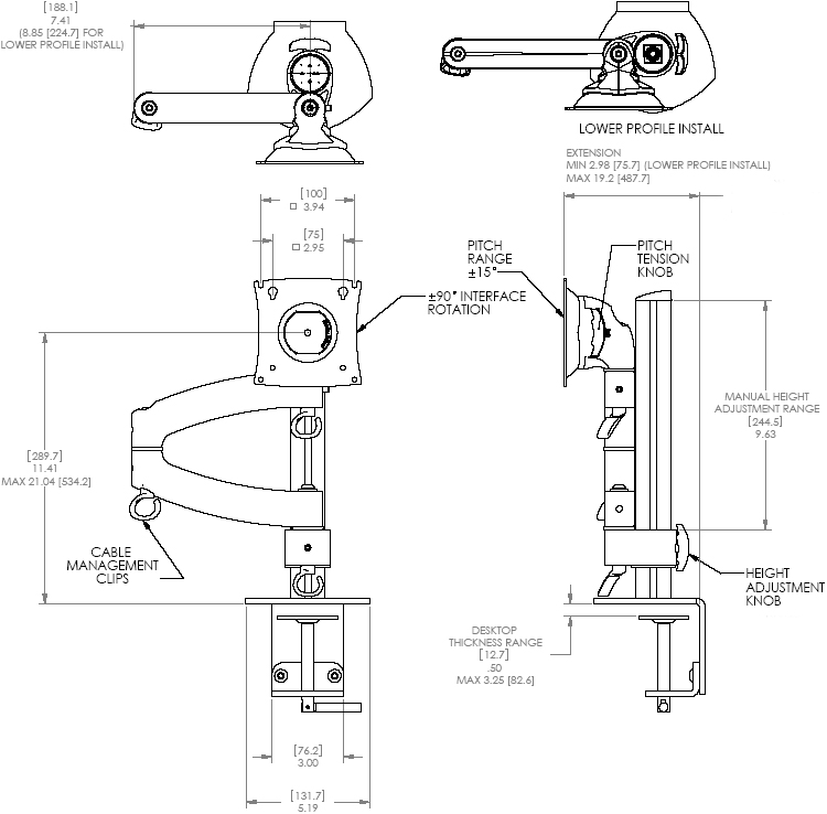 Technical Drawing of Chief K2C100S or K2C100B KONTOUR Column Desk Clamp Mount for Dual Monitors