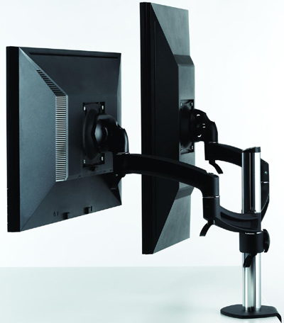 Chief K2C200B or K2C200S KONTOUR Column Desk Clamp Mount for Dual Monitors