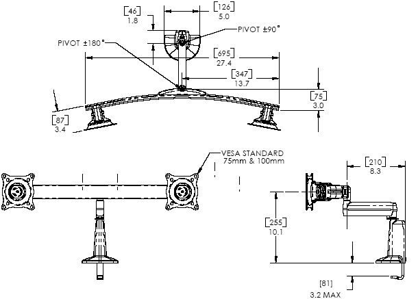 Technical Drawing of Chief KCS220B or KCS220S Dual Monitor Single Arm Desk Mount