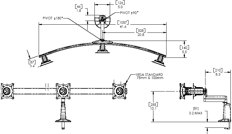 Technical Drawing of Chief KCS-320B or KCS-320S Triple Monitor Single Arm Desk Mount