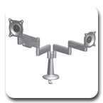 Chief KCY210B or KCY210S Desk Mount Height-Adjustable Dual Monitor up to 40 lbs LCD Arm