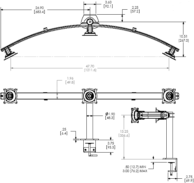 Technical Drawing of Chief KTC-325B Widescreen Triple Horizontal Desk Clamp Mount