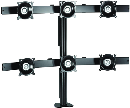 "Chief KTC330B or KTC330S Six Monitor Desk Clamp Mount for 10-24"" Displays"