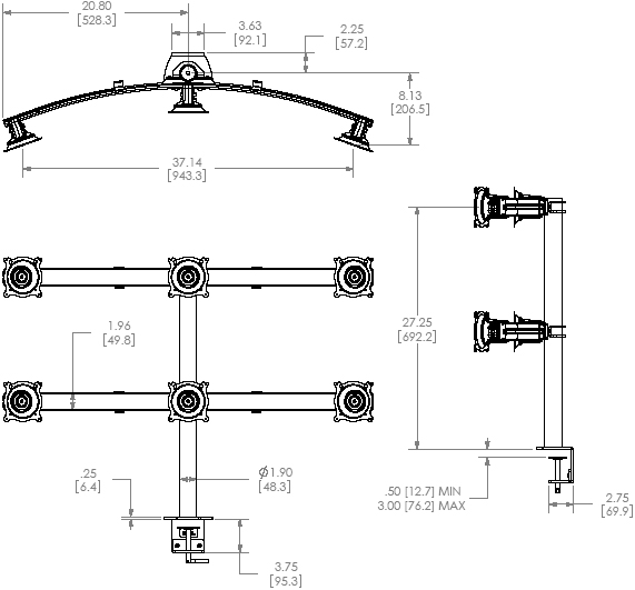 Technical Drawing of Chief KTC-330B or KTC-330S Six Monitor Horizontal Desk Clamp Mount