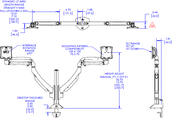 Technical drawing for Chief K1C220 Kontour Dynamic Column Mount 2 Monitors