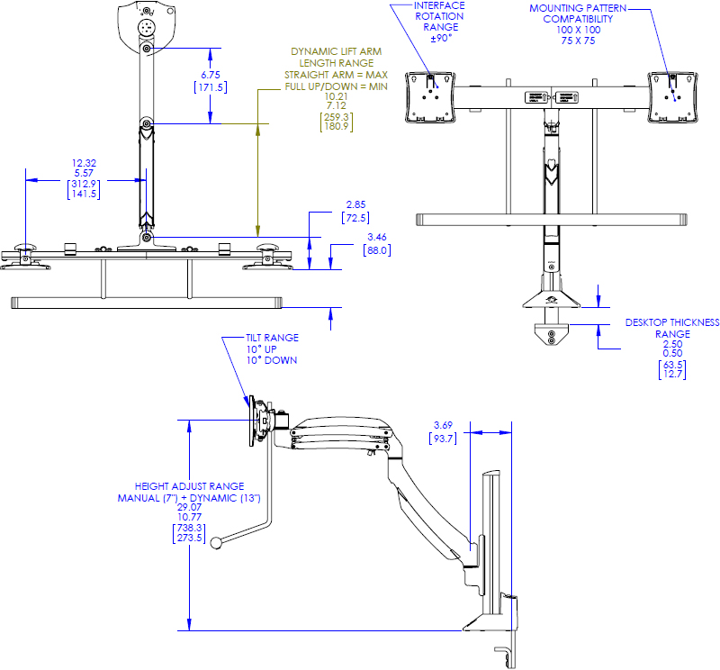 Technical drawing for Chief K1C22H Kontour Dynamic Column Mount, Dual Monitor Array