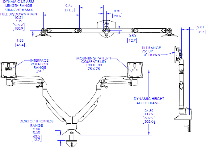Technical drawing for chief K1D220 Kontour Dynamic Desk Mount, 2 Monitors