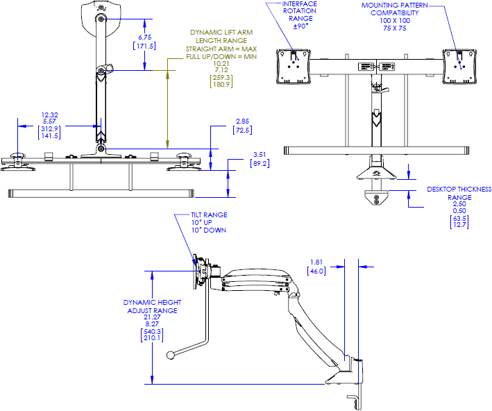 Technical drawing for Chief K1D22H Kontour K1D Dynamic Desk Clamp Mount, Dual Array