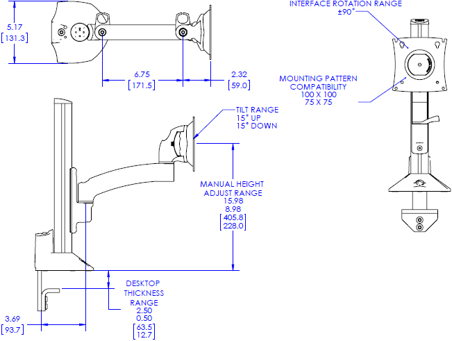 Technical drawing for Chief K2C110 Kontour K2C Articulating Column Mount, 1 Monitor