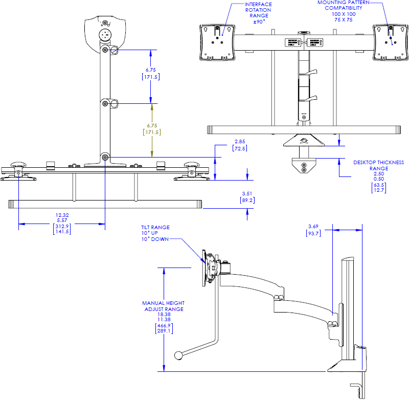 Technical drawing for Chief K2C22H Kontour K2C Articulating Column Mount, Dual Array