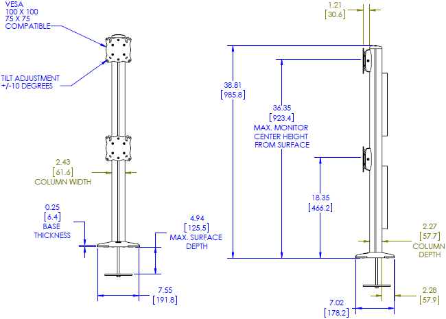 Technical Drawing for Chief K3G120B KONTOUR Grommet Mounted 1x2 Array