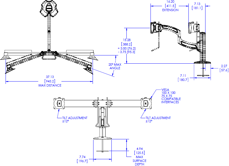 Technical drawing for Chief K4G210B KONTOUR K4 Depth-Adjustable Grommet Mounted Array