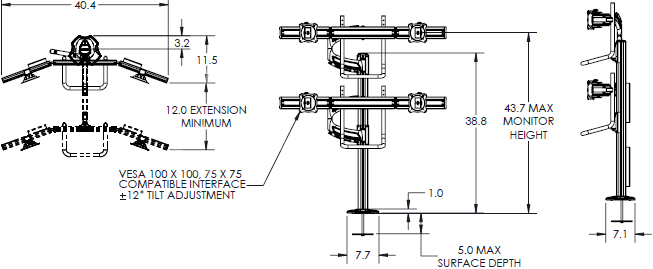 Technical drawing for Chief K4G220B KONTOUR K4 2x2 Grommet Mounted Array