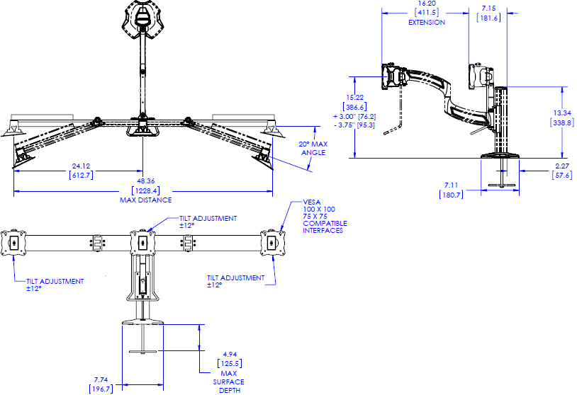 Technical drawing for Chief K4G310B KONTOUR K4 3x1 Grommet Mounted Array
