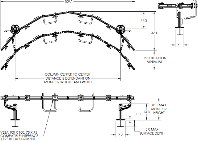Technical drawing for Chief K4G610B KONTOUR K4 Depth-Adjustable Grommet Mounted Array