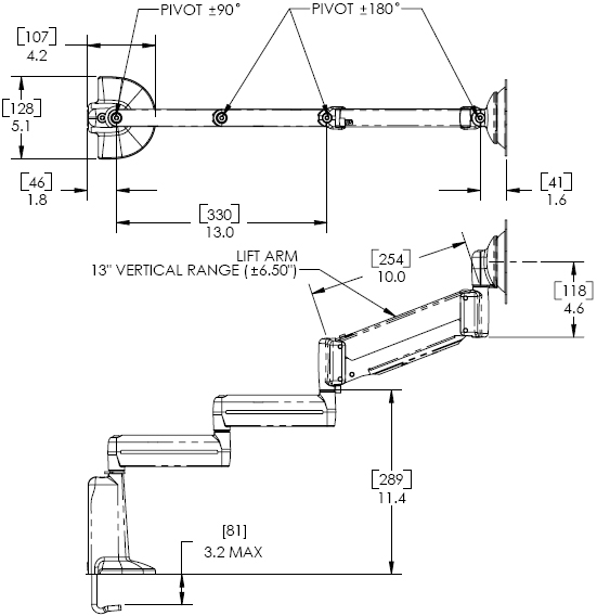 Technical Drawing for KCB1100S or KCB110B Desk Mount Flat Panel Triple LCD Arm