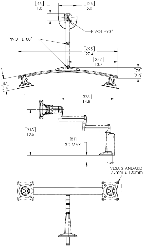 Technical Drawings for Chief KCD220 Desk Mount Dual Monitor Swing LCD Arm