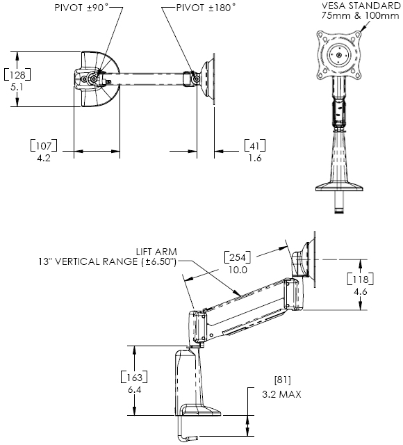 Technical Drawing of Chief KCV1100S or KCV110B Desk Mount Height Adjustable Single LCD Arm