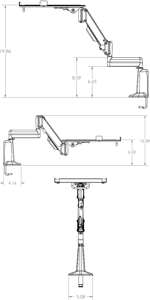 Technical Drawings for Chief KGL110 Desk Mount Height Adjustable Laptop Arm