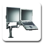 Chief KGL220B or KGL220S Desk Mount Arm Height Adjustable Dual Monitor or Laptop
