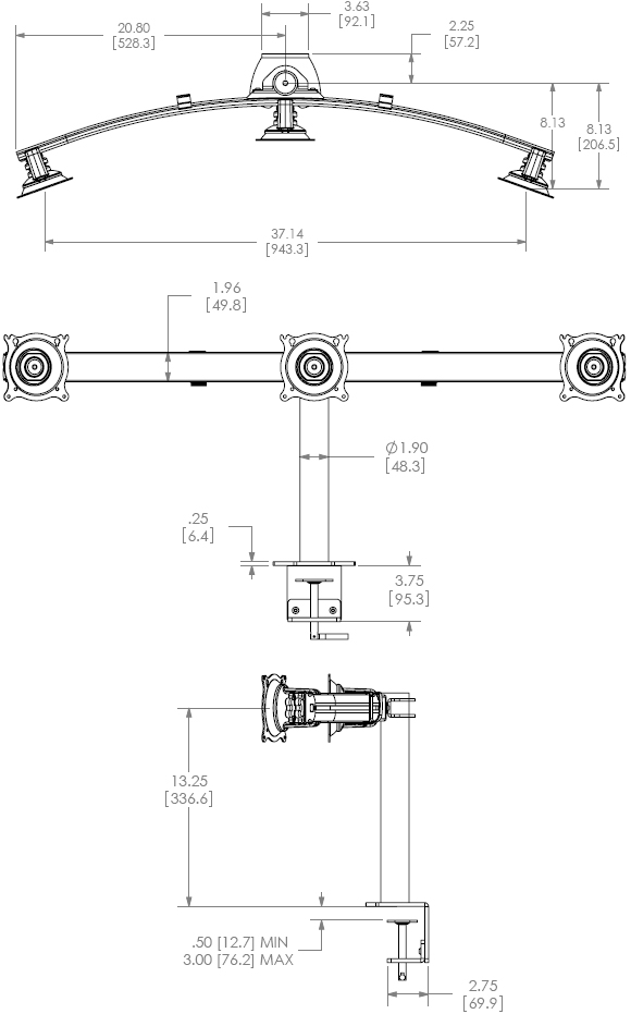 Technical Drawing for Chief KTC320 Desk Clamp Mount Flat Panel Horizontal Triple Monitor LCD Arm